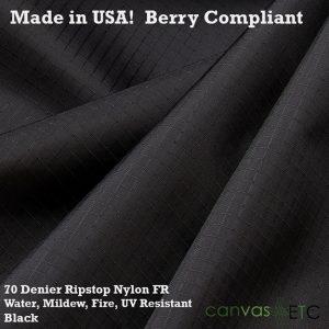 70 Denier Ripstop Nylon FR UV WR MR Black