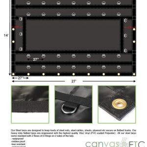 14x27 Steel Tarp 18 oz Vinyl CanvasETC
