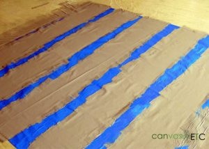 Floorcloth prepared for Striping