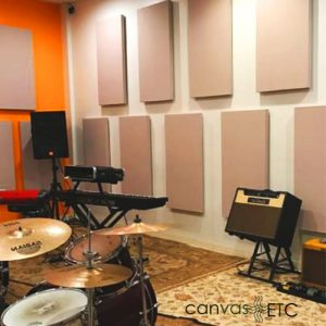 Acoustic fabric panels in music studio
