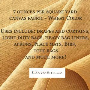 7 ounce per square yard canvas fabric in wheat color