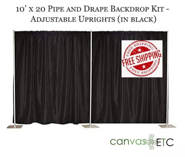 10x20 adjustable pipe and drape backdrop kits in black