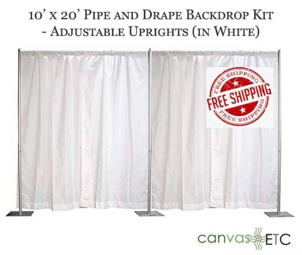 10x20 adjustable pipe and drape backdrop kits in white