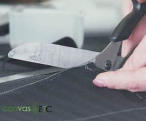 Cutting the outdoor seat cushion fabric