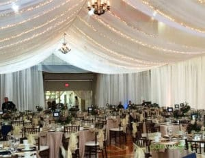 Ceiling fabric draping