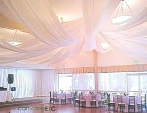 Ceiling fabric draping in snow white banjo cloth