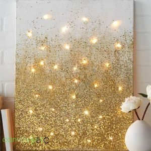 Gold glittered canvas backlit