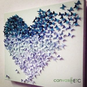 Paper punch glued to wall canvas