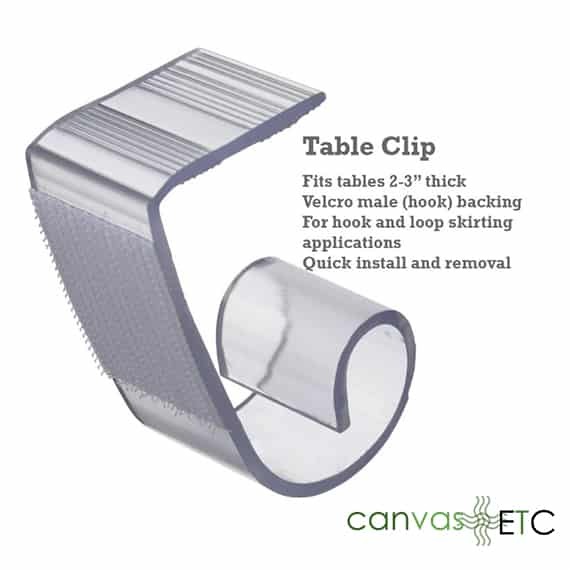 Table skirt clips 2 to 3 inches