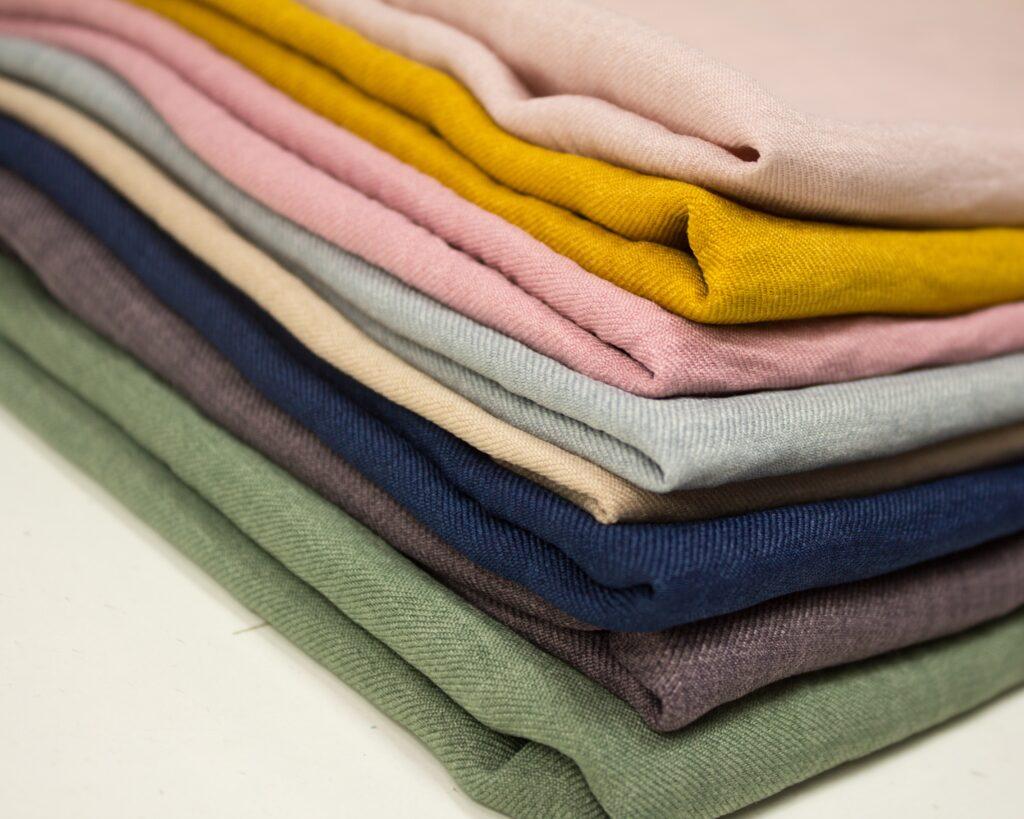 stacks of folded fabric